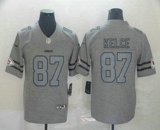 Men's Kansas City Chiefs #87 Travis Kelce 2019 Gray Gridiron Vapor Untouchable Stitched NFL Nike Limited Jersey
