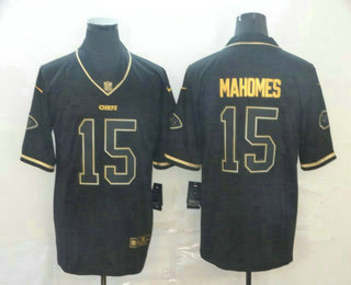 Men's Kansas City Chiefs #15 Patrick Mahomes Black 100th Season Golden Edition Jersey