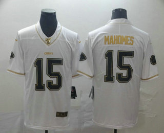 Men's Kansas City Chiefs #15 Patrick Mahomes White 100th Season Golden Edition Jersey