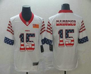 Men's Kansas City Chiefs #15 Patrick Mahomes White Independence Day Stars Stripes Jersey