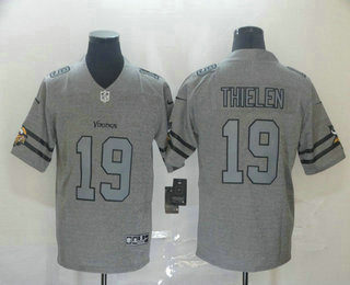 Men's Minnesota Vikings #19 Adam Thielen 2019 Gray Gridiron Vapor Untouchable Stitched NFL Nike Limited Jersey