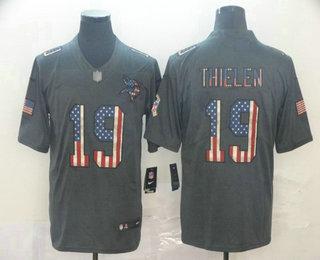 Men's Minnesota Vikings #19 Adam Thielen 2019 Black Salute To Service USA Flag Fashion Limited Jersey