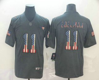 Men's New England Patriots #11 Julian Edelman 2019 Black Salute To Service USA Flag Fashion Limited Jersey