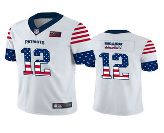Men's New England Patriots #12 Tom Brady White Independence Day Stars Stripes Jersey