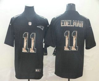 Men's New England Patriots #11 Julian Edelman 2019 Black Statue Of Liberty Stitched NFL Nike Limited Jersey
