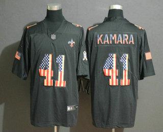 Men's New Orleans Saints #41 Alvin Kamara 2019 Black Salute To Service USA Flag Fashion Limited Jersey