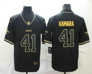 Men's New Orleans Saints #41 Alvin Kamara Black 100th Season Golden Edition Jersey