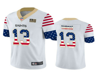 Men's New Orleans Saints #13 Michael Thomas White Independence Day Stars Stripes Jersey