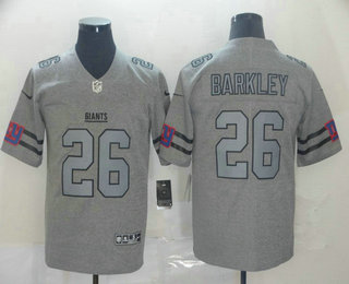 Men's New York Giants #26 Saquon Barkley 2019 Gray Gridiron Vapor Untouchable Stitched NFL Nike Limited Jersey
