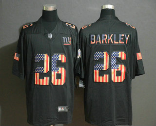 Men's New York Giants #26 Saquon Barkley 2019 Black Salute To Service USA Flag Fashion Limited Jersey