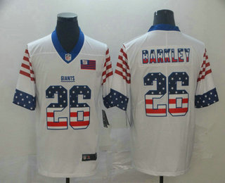 Men's New York Giants #26 Saquon Barkley White Independence Day Stars Stripes Jersey