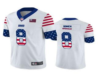 Men's New York Giants #8 Daniel Jones White Independence Day Stars Stripes Jersey