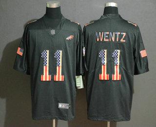 Men's Philadelphia Eagles #11 Carson Wentz 2019 Black Salute To Service USA Flag Fashion Limited Jersey