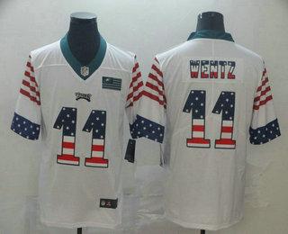 Men's Philadelphia Eagles #11 Carson Wentz White Independence Day Stars Stripes Jersey