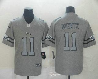 Men's Philadelphia Eagles #11 Carson Wentz 2019 Gray Gridiron Vapor Untouchable Stitched NFL Nike Limited Jersey