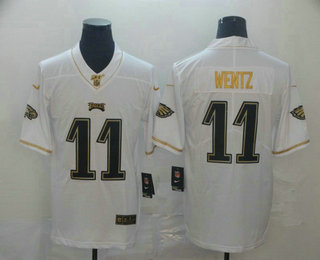 Men's Philadelphia Eagles #11 Carson Wentz White 100th Season Golden Edition Jersey