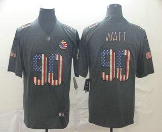Men's Pittsburgh Steelers #90 T. J. Watt 2019 Black Salute To Service USA Flag Fashion Limited Jersey