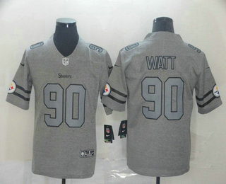 Men's Pittsburgh Steelers #90 T. J. Watt 2019 Gray Gridiron Vapor Untouchable Stitched NFL Nike Limited Jersey