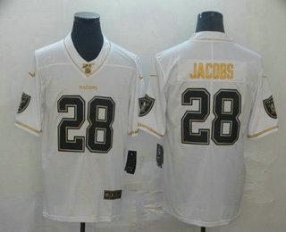 Men's Oakland Raiders #28 Josh Jacobs White 100th Season Golden Edition Jersey
