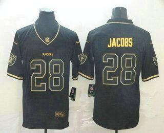 Men's Oakland Raiders #28 Josh Jacobs Black 100th Season Golden Edition Jersey