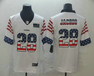 Men's Oakland Raiders #28 Josh Jacobs White Independence Day Stars Stripes Jersey