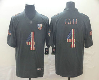 Men's Oakland Raiders #4 Derek Carr 2019 Black Salute To Service USA Flag Fashion Limited Jersey
