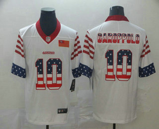 Men's San Francisco 49ers #10 Jimmy Garoppolo White Independence Day Stars Stripes Jersey