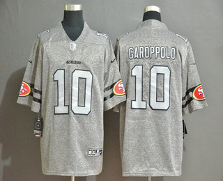 Men's San Francisco 49ers #10 Jimmy Garoppolo 2019 Gray Gridiron Vapor Untouchable Stitched NFL Nike Limited Jersey
