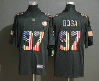 Men's San Francisco 49ers #97 Nick Bosa 2019 Black Salute To Service USA Flag Fashion Limited Jersey