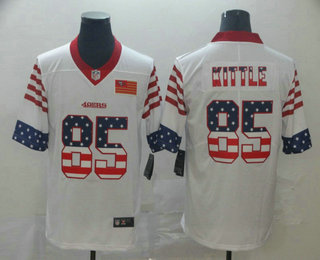Men's San Francisco 49ers #85 George Kittle White Independence Day Stars Stripes Jersey