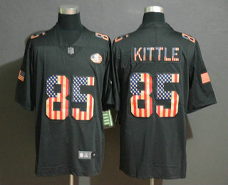 Men's San Francisco 49ers #85 George Kittle 2019 Black Salute To Service USA Flag Fashion Limited Jersey
