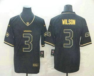 Men's Seattle Seahawks #3 Russell Wilson Black 100th Season Golden Edition Jersey