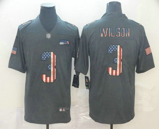 Men's Seattle Seahawks #3 Russell Wilson 2019 Black Salute To Service USA Flag Fashion Limited Jersey