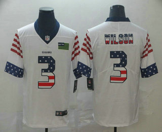 Men's Seattle Seahawks #3 Russell Wilson White Independence Day Stars Stripes Jersey