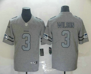 Men's Seattle Seahawks #3 Russell Wilson 2019 Gray Gridiron Vapor Untouchable Stitched NFL Nike Limited Jersey
