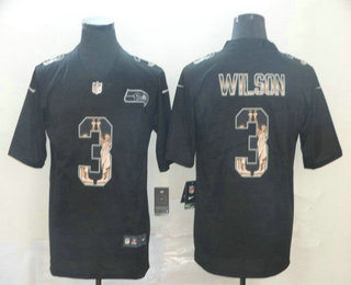 Men's Seattle Seahawks #3 Russell Wilson Black Statue Of Liberty Stitched NFL Nike Limited Jersey