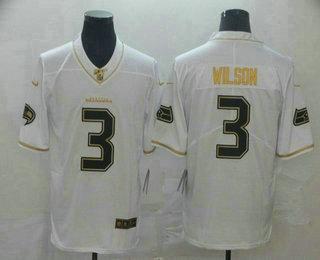 Men's Seattle Seahawks #3 Russell Wilson White 100th Season Golden Edition Jersey