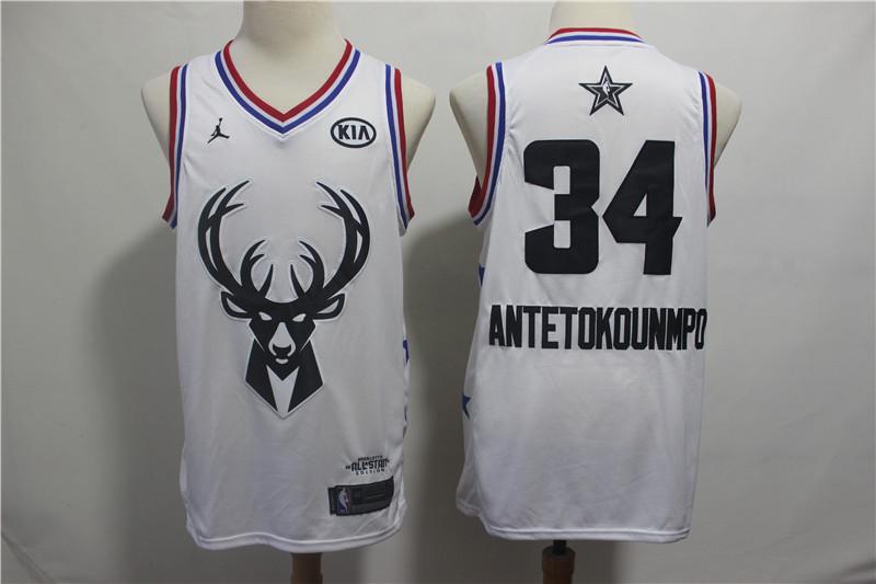 Bucks #34 Giannis Antetokounmpo White 2019 NBA All-Star Game Jordan Brand Swingman