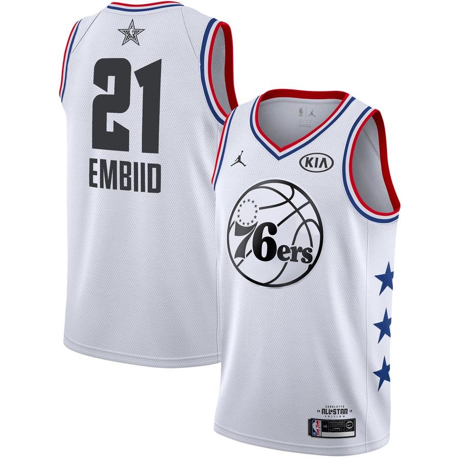 76ers #21 Joel Embiid White 2019 NBA All-Star Game Jordan Brand Swingman Jersey