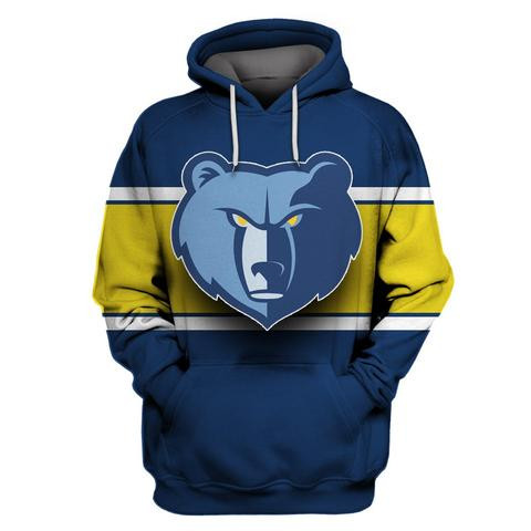 Grizzlies Blue All Stitched Hooded Sweatshirt