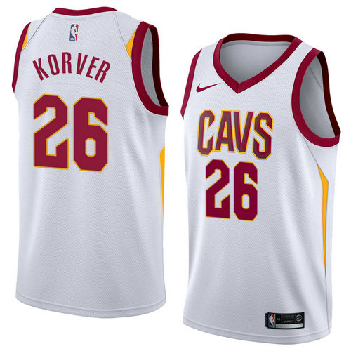 Men's Cleveland Cavaliers #28 Kyle Korver White Swingman Statement Edition Jersey