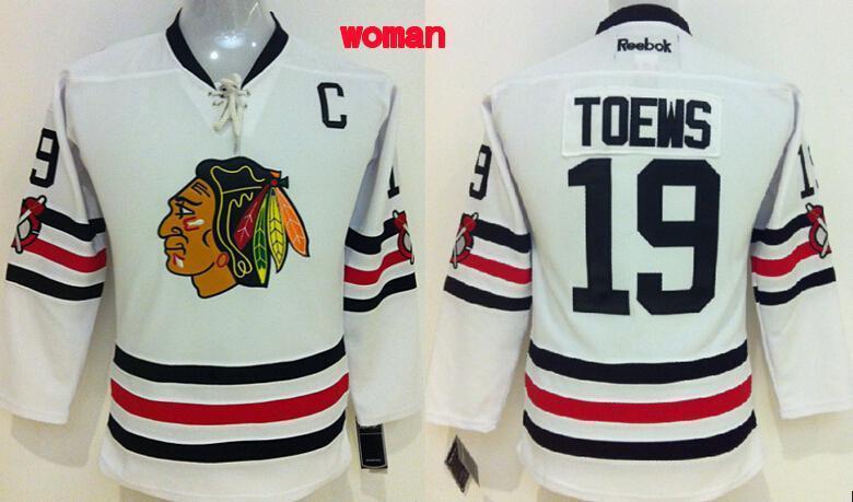 Blackhawks 19 Toews White 2015 Winter Classic Stitched Women Jersey