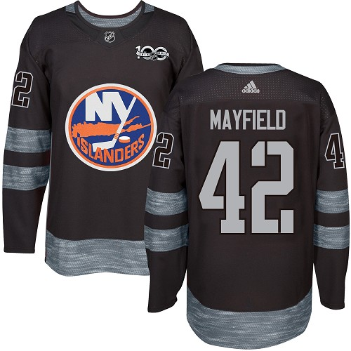 Men's New York Islanders #42 Scott Mayfield Adidas Black Authentic 1917-2017 100th Anniversary NHL Jersey