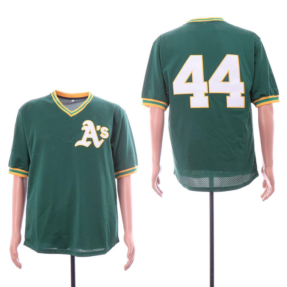 Men's Oakland Athletics #44 Reggie Jackson Green Mesh Throwback Jersey
