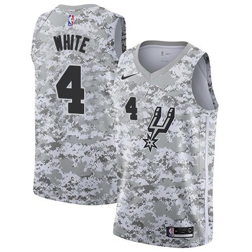 Men's Nike San Antonio Spurs Spurs #4 Derrick White White Camo Basketball Swingman Earned Edition Jersey