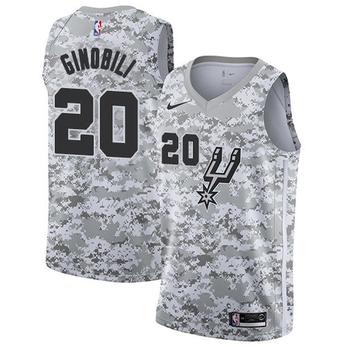 Men's Nike San Antonio Spurs Spurs #20 Manu Ginobili White Camo Basketball Swingman Earned Edition Jersey