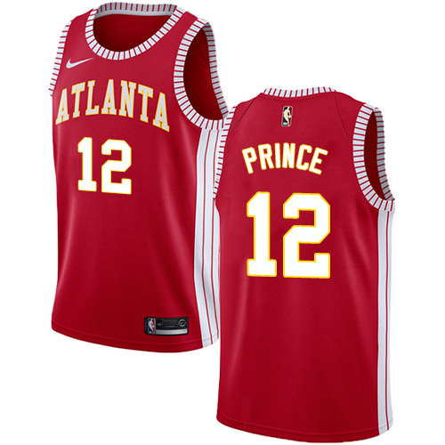 Men's Atlanta Hawks #12 Authentic Taurean Prince Red Basketball Statement Edition Jersey