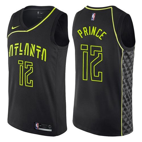 Men's Atlanta Hawks #12 Authentic Taurean Prince Black Basketball City Edition Jersey