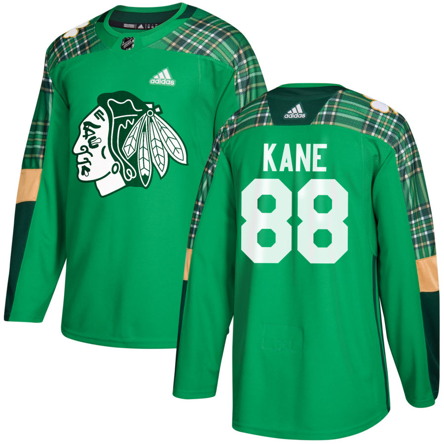 Chicago Blackhawks #88 Patrick Kane adidas Green St. Patrick's Day Authentic Practice Stitched NHL Jersey