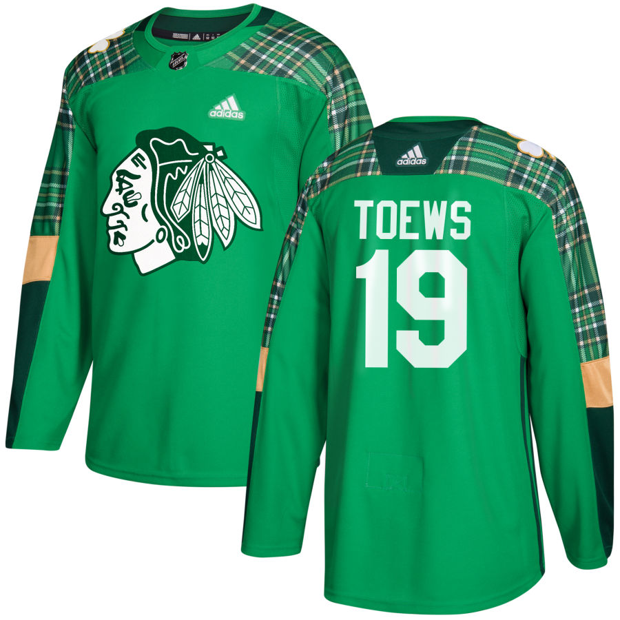 Chicago Blackhawks #19 Jonathan Toews adidas Green St. Patrick's Day Authentic Practice Stitched NHL Jersey